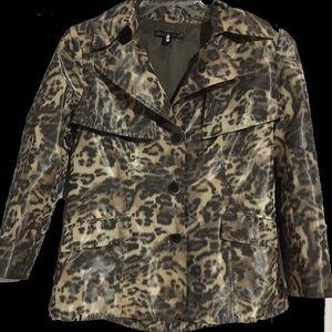 Lafayette 148 New York Leopard Print Rain Jacket